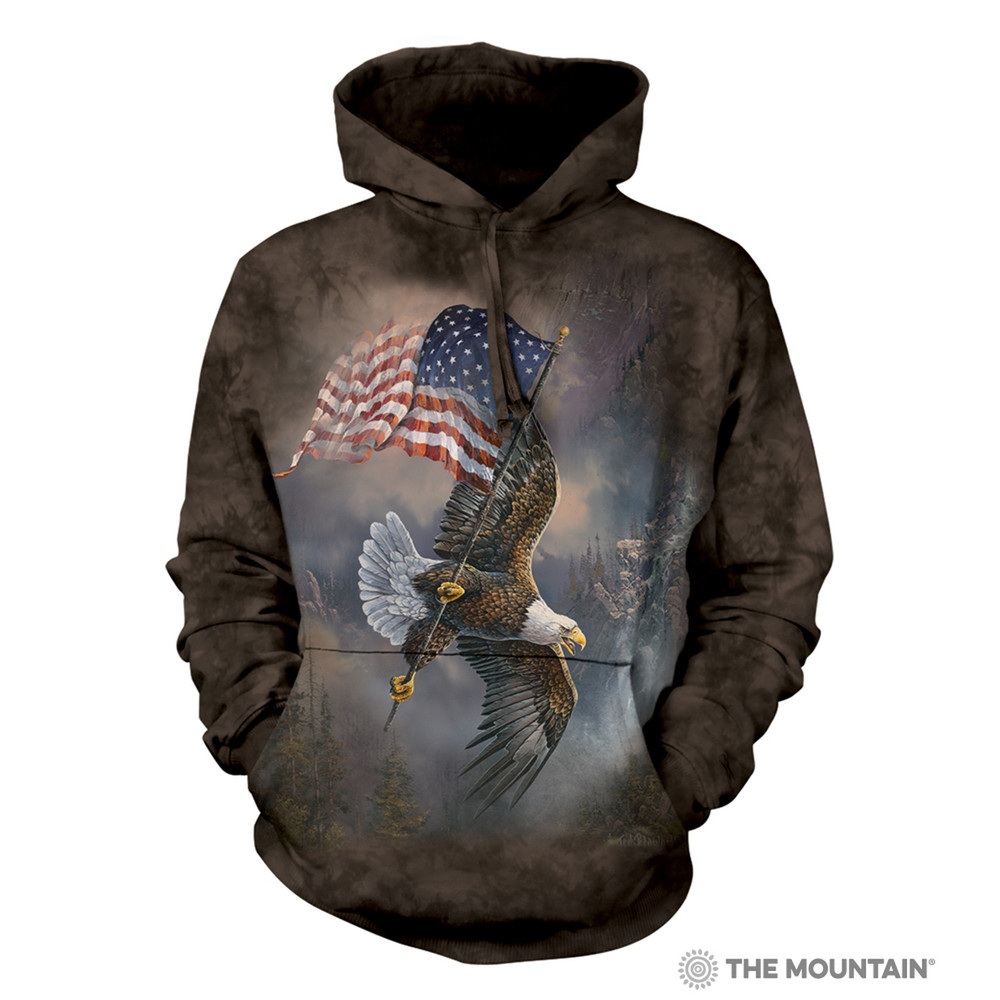 Flag-Bearing Eagle Unisex Hoodie | The Mountain | 725958 | Bald Eagle Sweatshirt