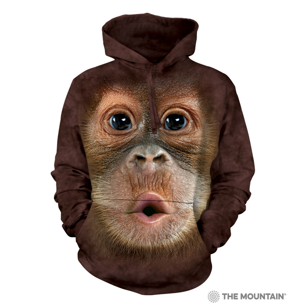 Big Face Baby Orangutan Unisex Hoodie | The Mountain | 723587 | Orangutan Sweatshirt