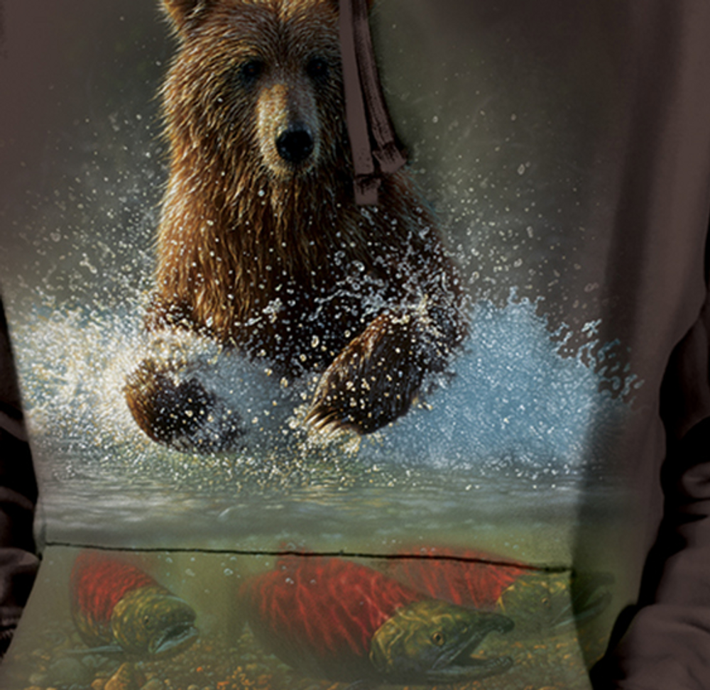 Lucky Fishing Hole Bear Unisex Hoodie | The Mountain | 726165 | Bear Sweatshirt