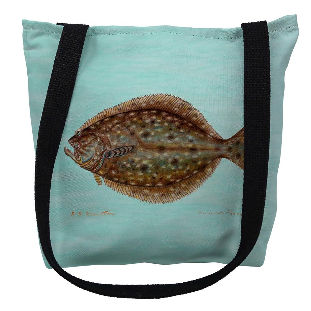 Flounder Aqua Tote Bag | Betsy Drake | TY014CM
