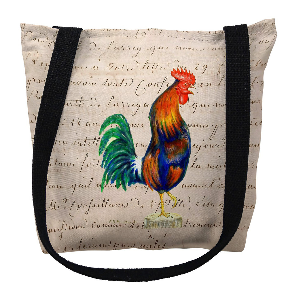 Blue Rooster with Beige Script Tote Bag   Betsy Drake   TY037AM