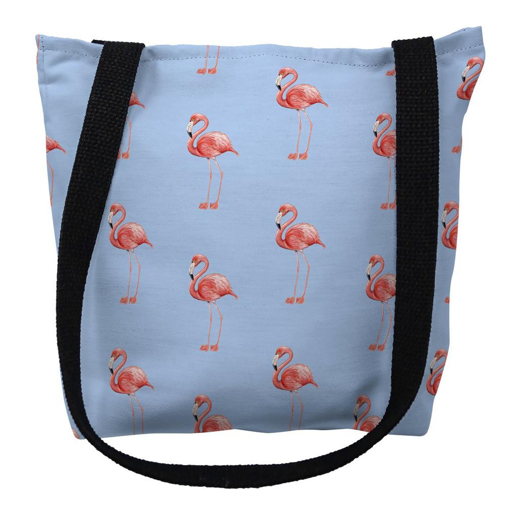 Flamingo Tiled Light Blue Tote Bag   Betsy Drake   TY084BM