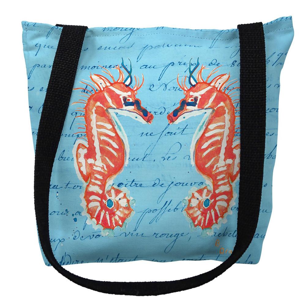 Coral Seahorses Blue Script Tote Bag   Betsy Drake   TY100BM