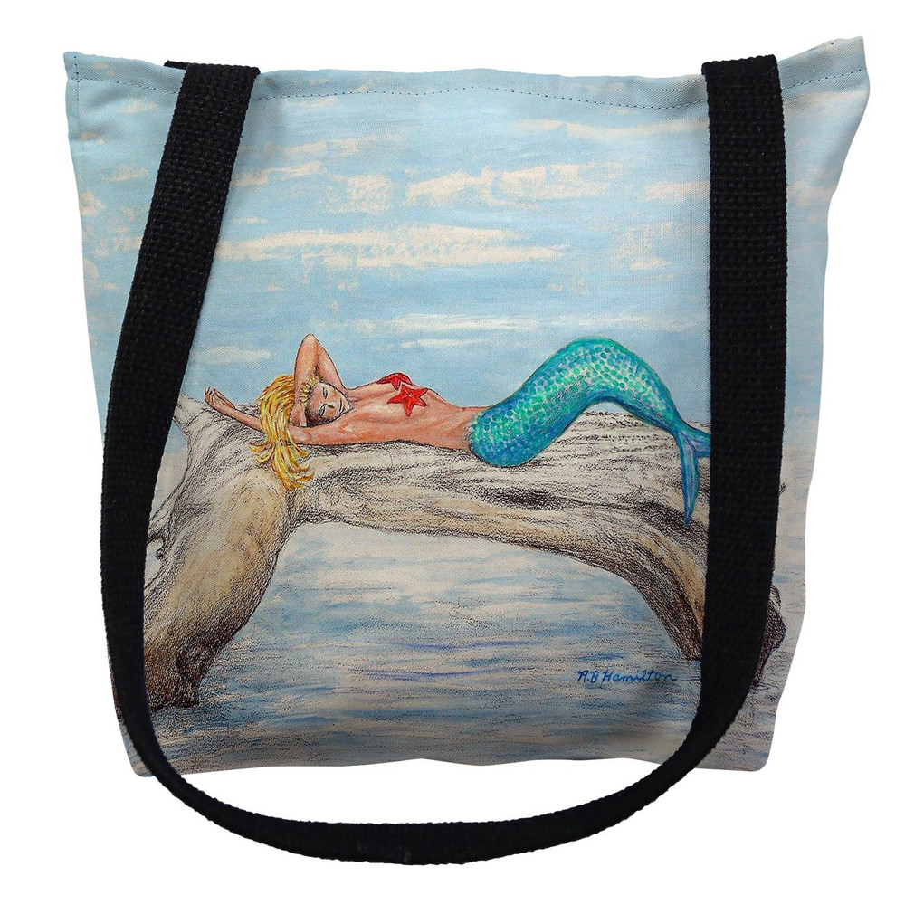 Mermaid on Log Tote Bag | Betsy Drake | TY155M