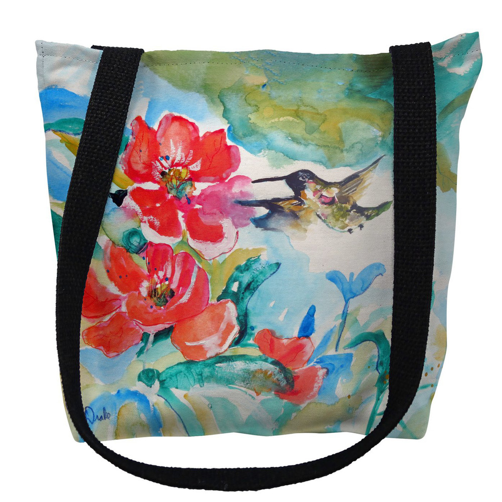 Hummingbird and Red Flower Tote Bag | Betsy Drake | TY1007M