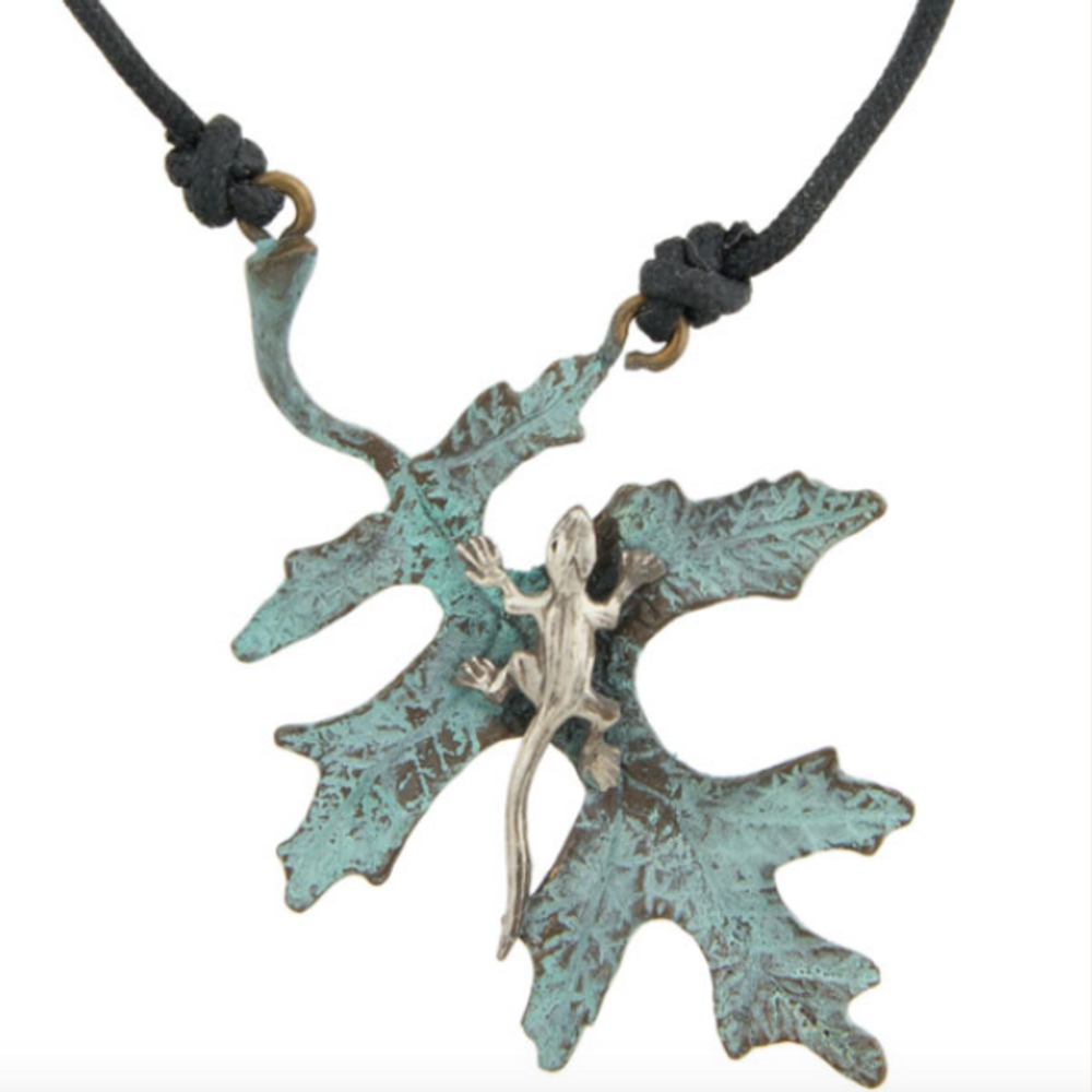 Oak Leaf with Silver Lizard Pendant Necklace | Cavin Richie Jewelry | KB-310A-PEND