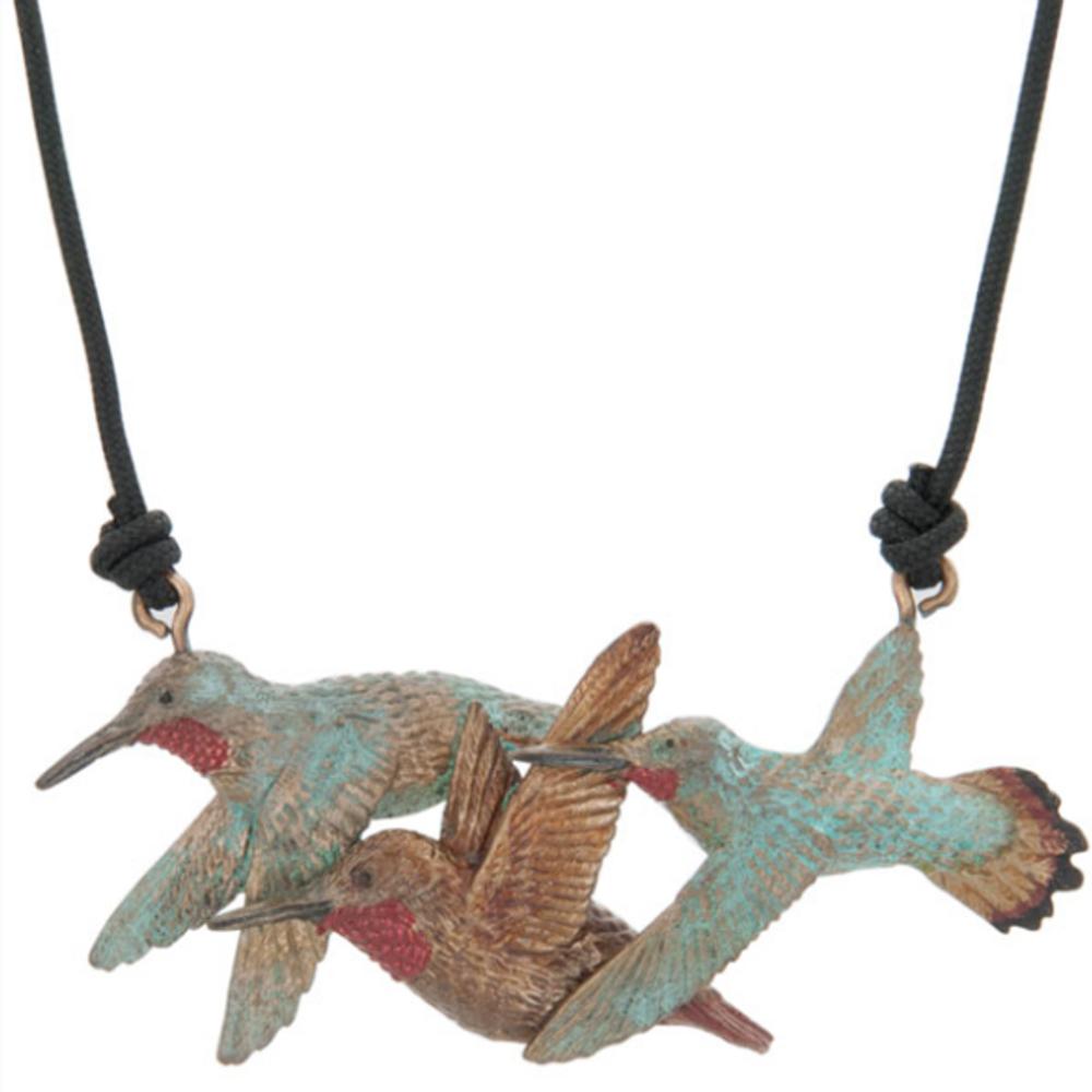3 Rufous Hummingbirds Pendant Necklace   Cavin Richie Jewelry   KB-235-PEND