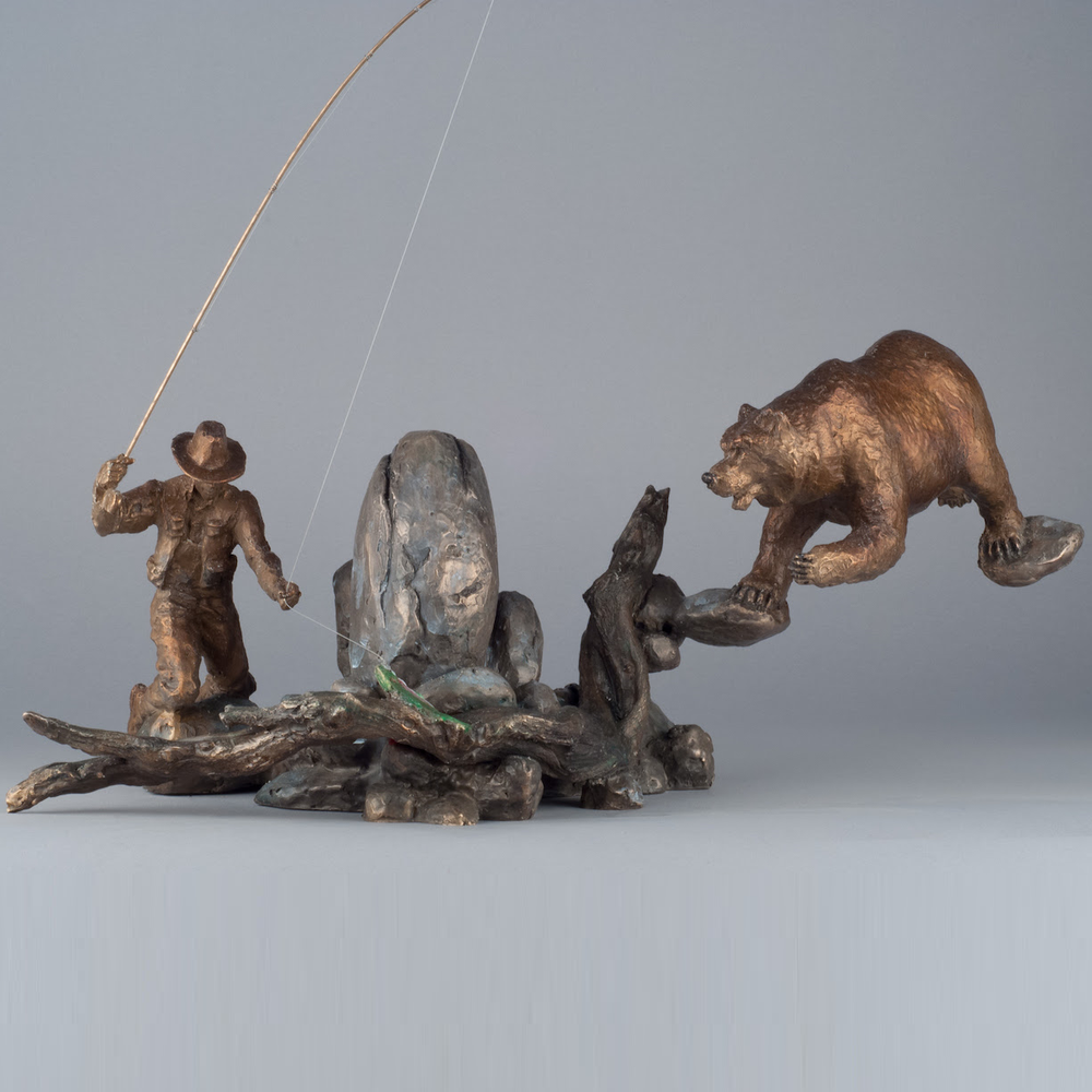 Bear and Fisherman Bronze Sculpture | Convergence | 24013