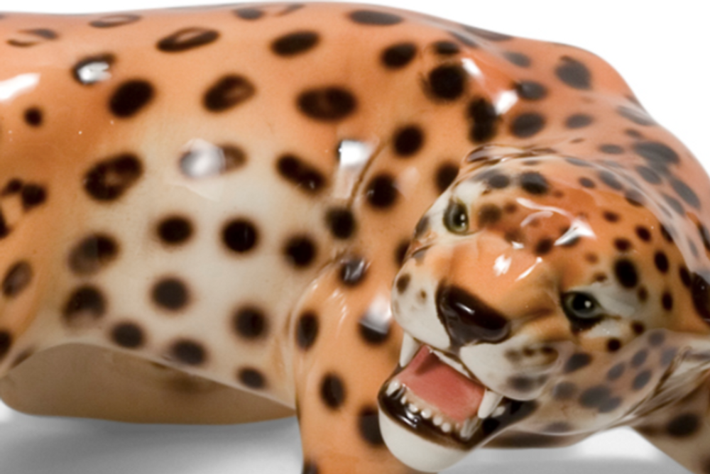 Cheetah Alert Ceramic Sculpture | Intrada Italy | ANI1276