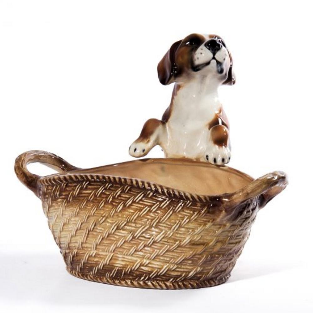 Beagle Dog with Basket Ceramic Sculpture | Intrada Italy | ANI2310