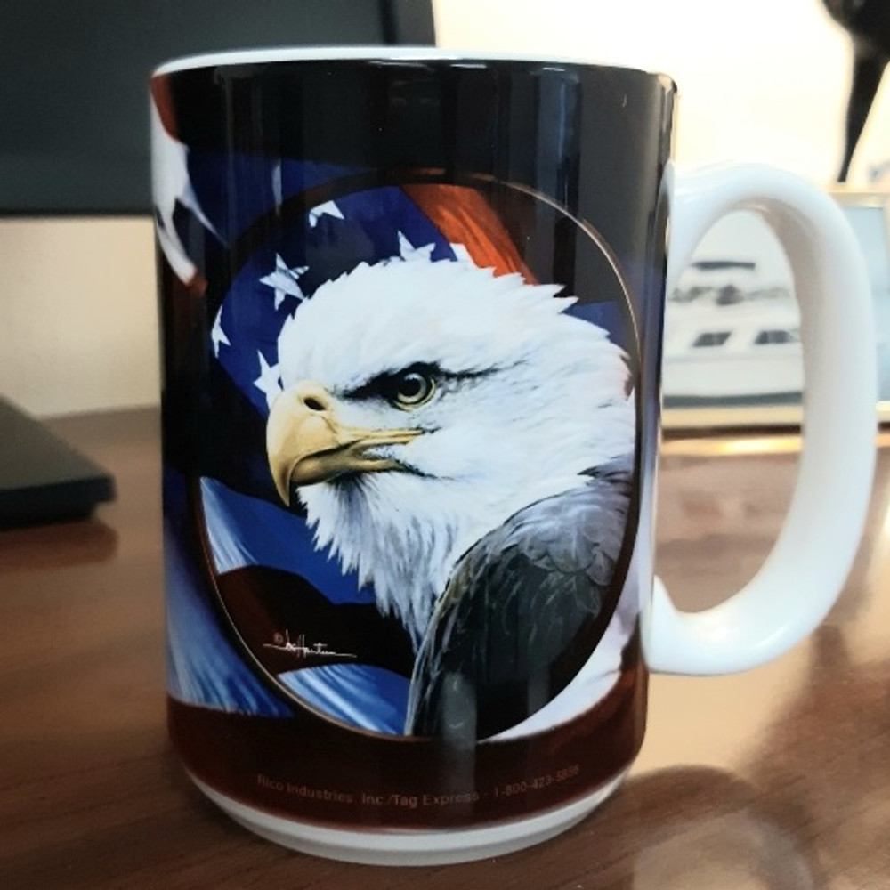 Eagle with Flag 15oz Ceramic Mug | Bald Eagle Mug | CMGWHB3132