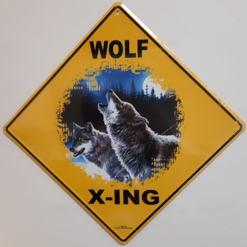 Wolf Howling Metal Crossing Sign | Wolf Howling Xing Sign | MXSHB1077