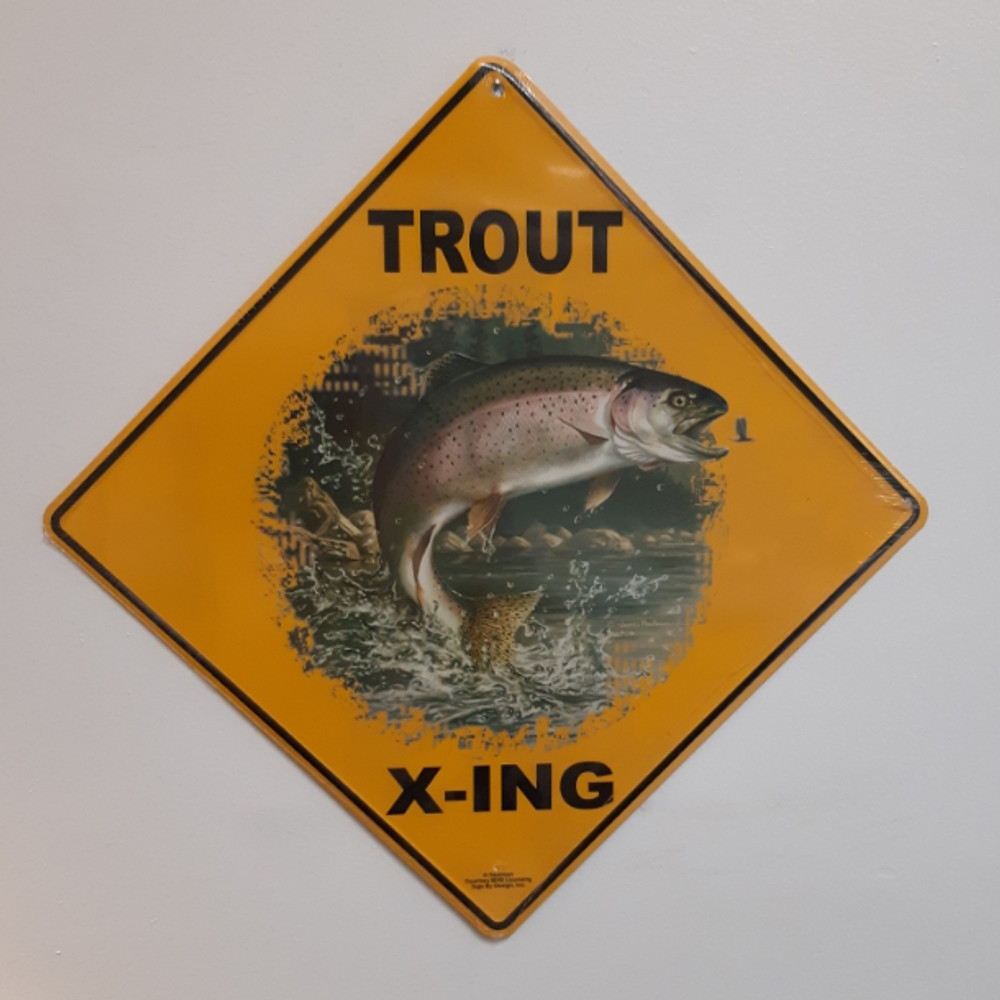 Trout Metal Crossing Sign   Trout X-ing Sign