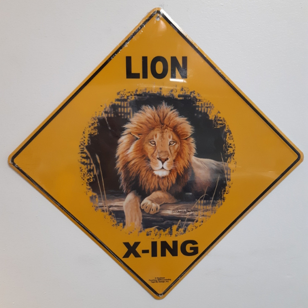 Lion Metal Crossing Sign | Lion X-ing Sign