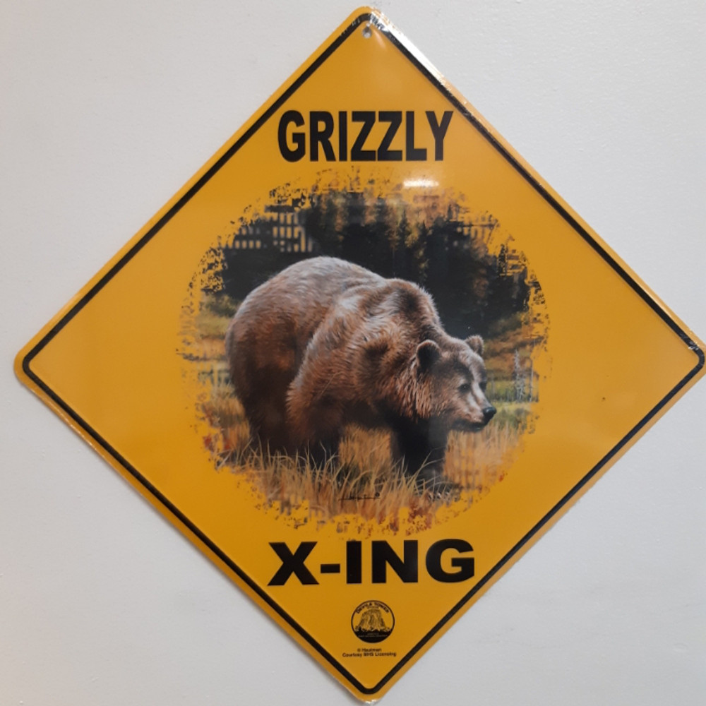 Grizzly Bear Metal Crossing Sign | Grizzly X-ing Sign