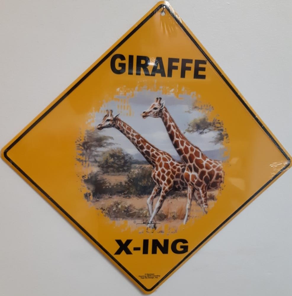 Giraffe Metal Crossing Sign   Giraffe X-ing Sign   MXSHB30803
