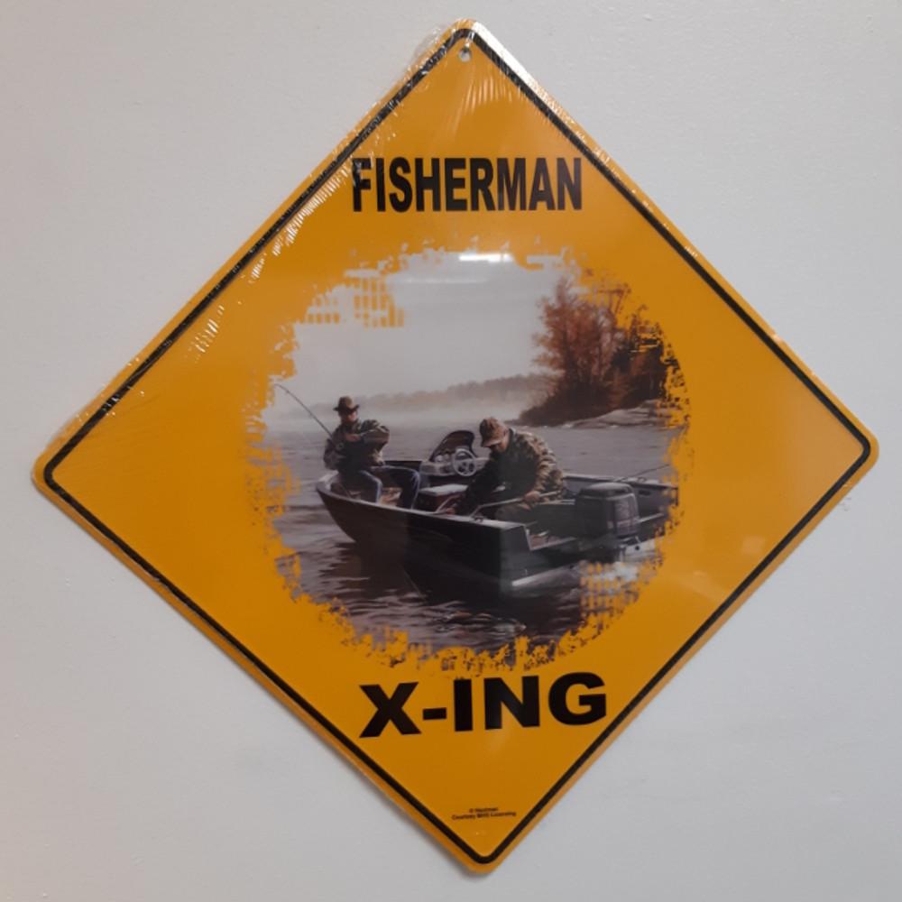 Fisherman Metal Crossing Sign   Fisherman X-ing Sign
