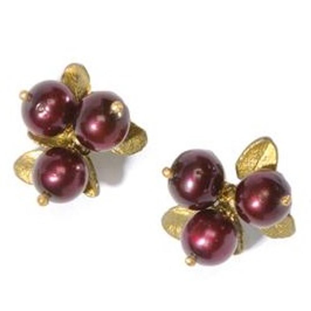 Cranberry Clip Earrings | Michael Michaud Jewelry | SS4407bzcr -2