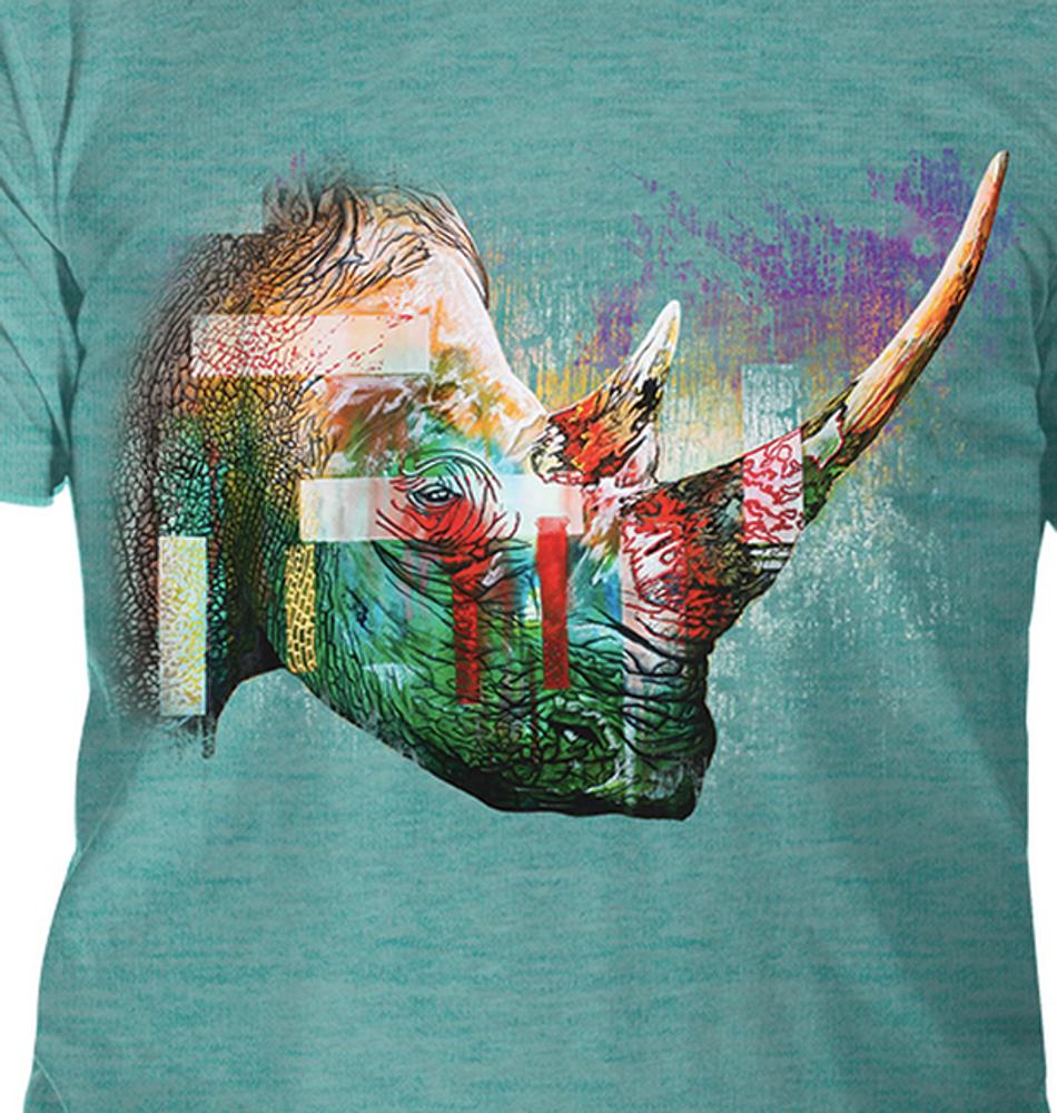 Painted Rhino Teal Unisex Tri-Blend T-Shirt   The Mountain   5463250744   Rhino T-Shirt