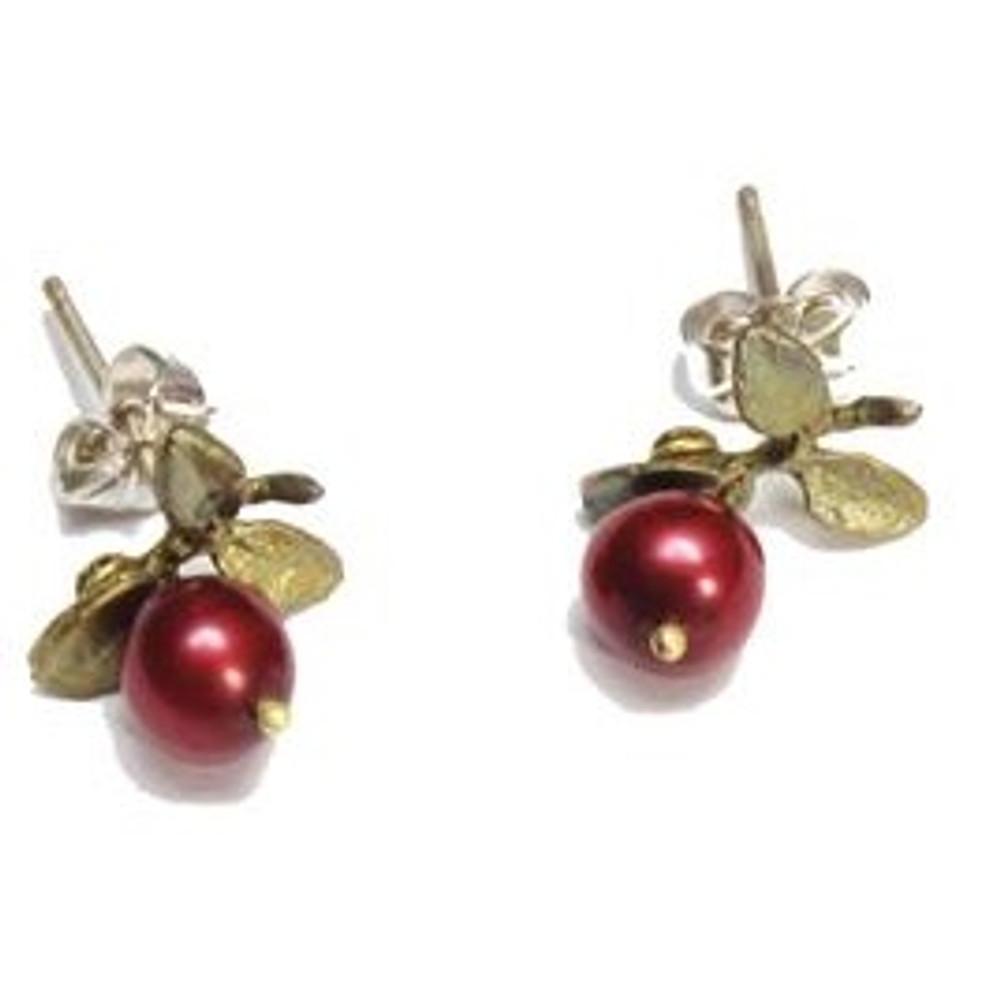 Cranberry Pierced Earrings | Michael Michaud Jewelry | SS4408bzcr -2