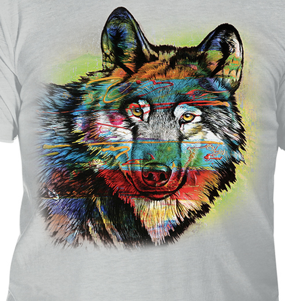 Painted Wolf Grey Unisex Tri-Blend T-Shirt | The Mountain | 5463200748 | Wolf T-Shirt