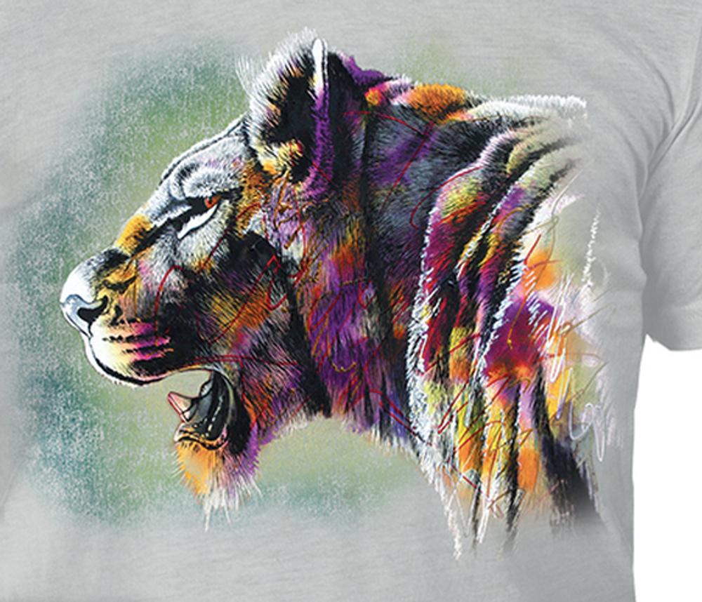 Painted Lion Grey Unisex Tri-Blend T-Shirt | The Mountain | 5463230748 | Lion T-Shirt