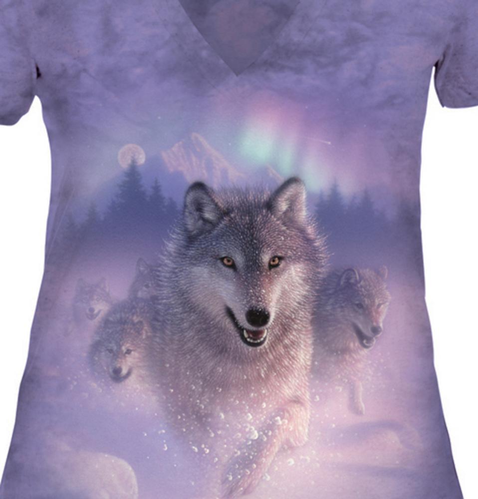 Northern Lights Wolf Women's Tri-Blend V-neck T-Shirt | The Mountain | 415842 | Wolf T-Shirt