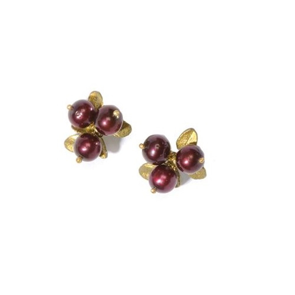 Cranberry 3 Stone Pierced Earrings | Michael Michaud Jewelry | SS4410BZCR