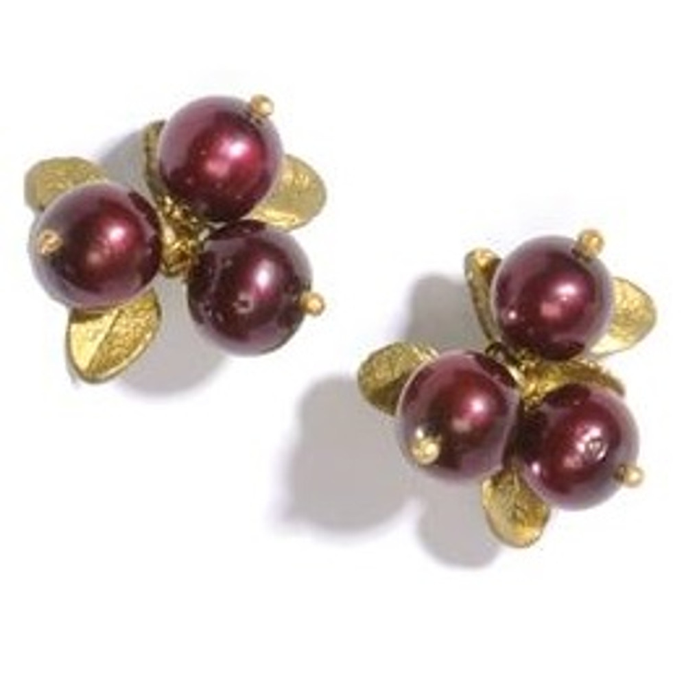 Cranberry 3 Stone Pierced Earrings | Michael Michaud Jewelry | SS4410BZCR -2