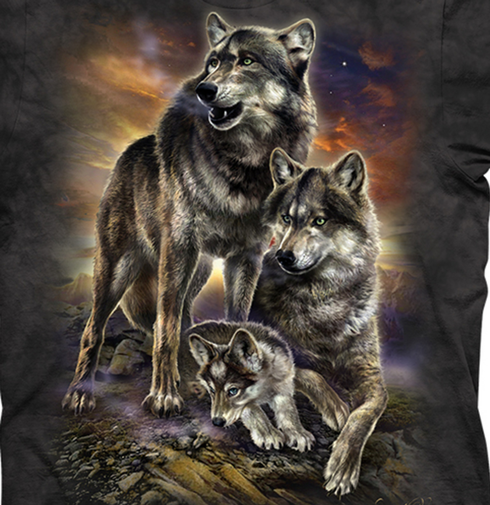 Wolf Family Sunrise Unisex Cotton T-Shirt | The Mountain | 106282 | Wolf T-Shirt