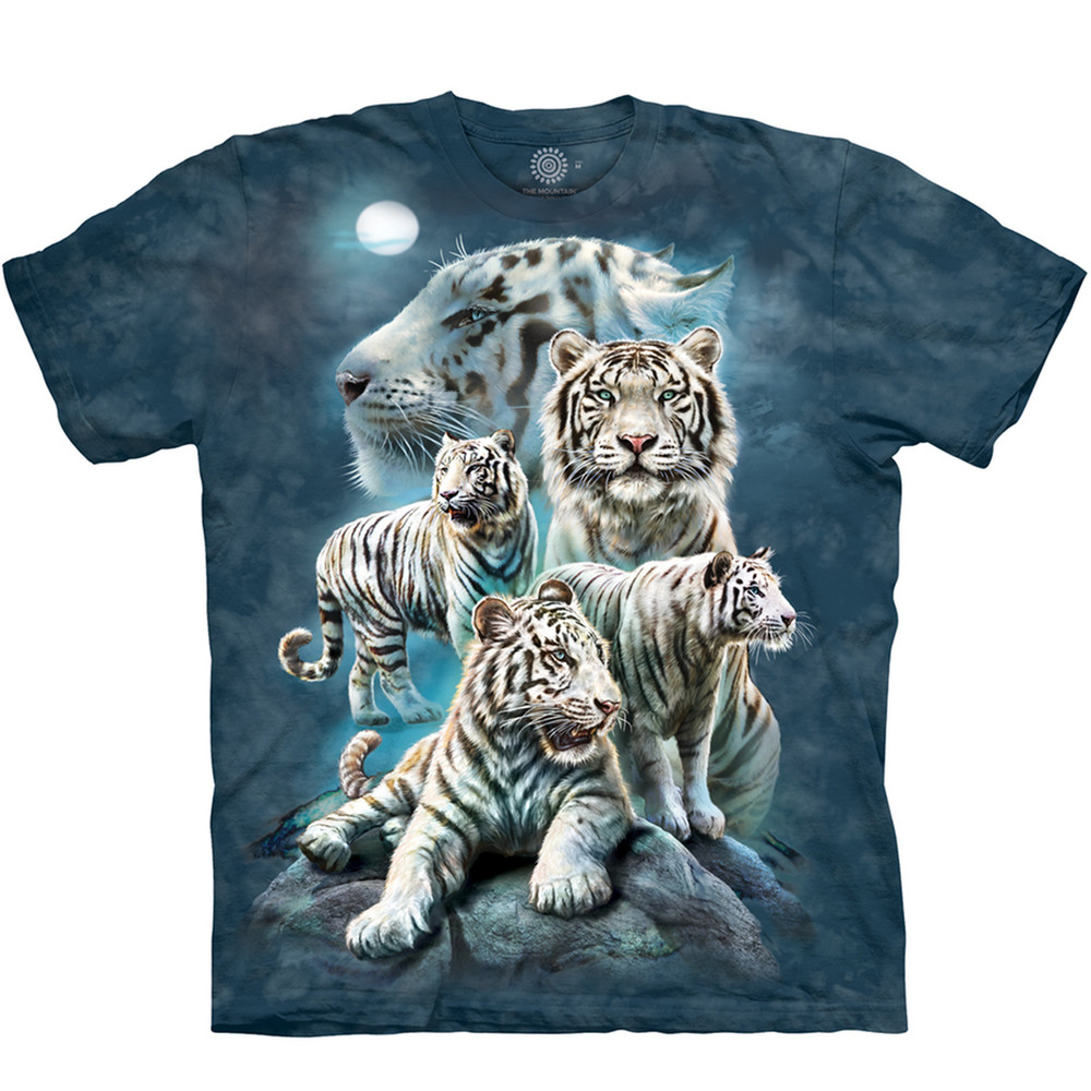Night Tiger Collage Unisex Cotton T-Shirt | The Mountain | 106273 | White Tiger T-Shirt