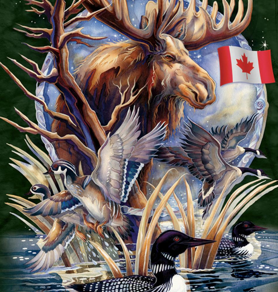 Canada Wildlife Loon & Moose Unisex Cotton T-Shirt | The Mountain | 106121 | Moose T-Shirt | Canada Loon T-Shirt