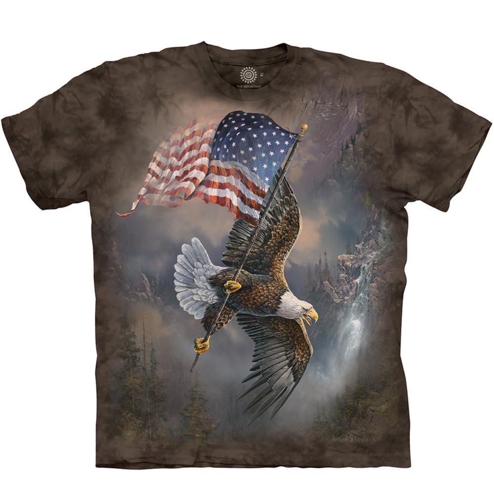Flag-Bearing Eagle Unisex Cotton T-Shirt | The Mountain | 105958 | Eagle T-Shirt