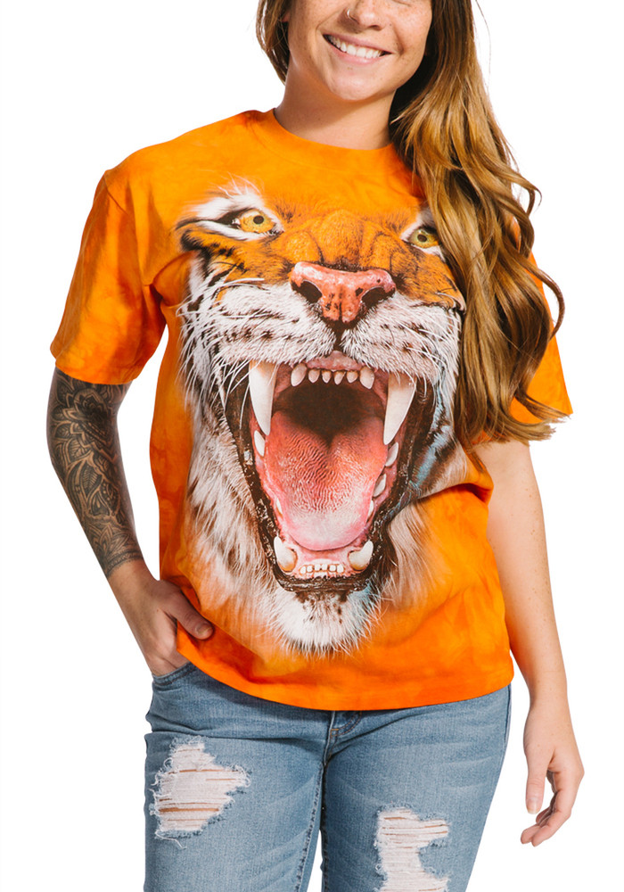 Roaring Tiger Face Unisex Cotton T-Shirt   The Mountain   105911   Tiger T-Shirt