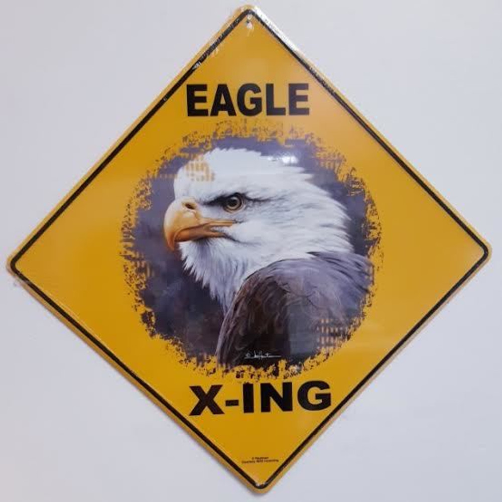Eagle Profile Metal Crossing Sign   Eagle Profile X-ing Sign   MXS3132