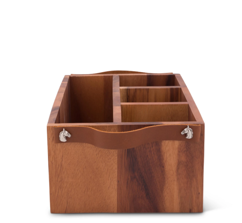 Horse Bit Wooden Flatware Caddy | Vagabond House | H264LB