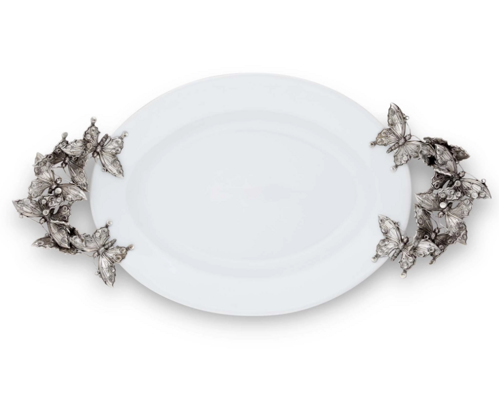 Butterfly Large Stoneware and Pewter Tray | Vagabond House | G304BF