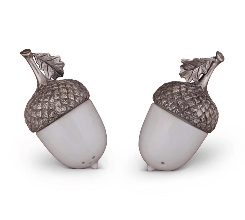 Acorn Porcelain and Pewter Salt Pepper Shakers   Vagabond House   L116LAP