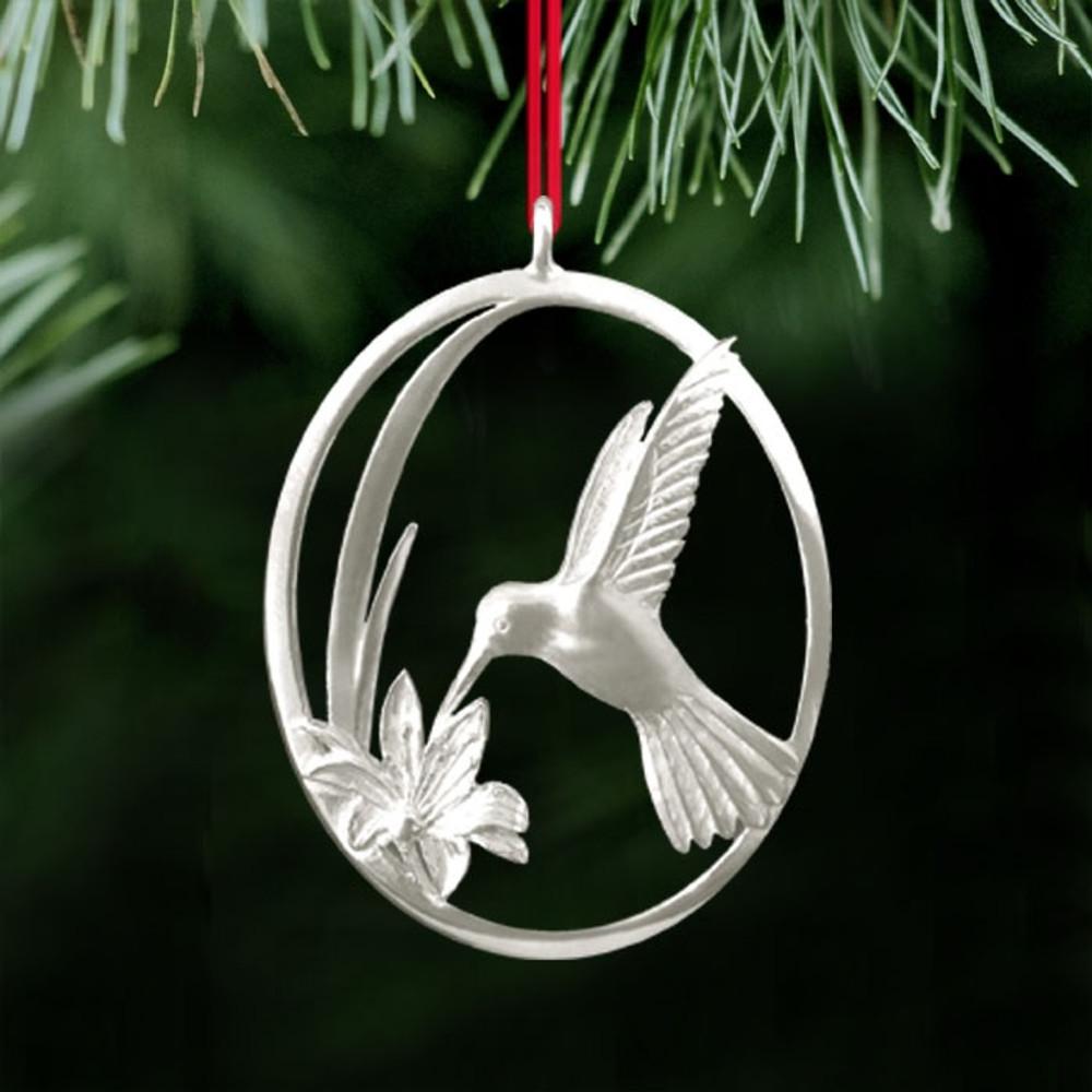 Hummingbird and Flower Pewter Ornament   Ken Kantro   Lovell Designs