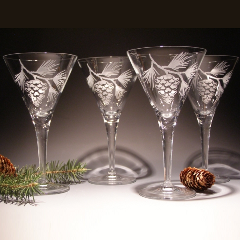 Pinecone Crystal Martini Glass Set of 4 | Evergreen Crystal