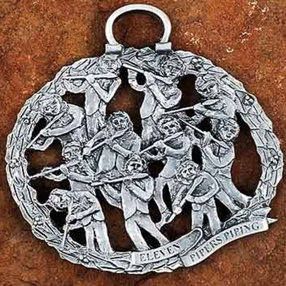 11 Pipers Piping Pewter Christmas Ornament | Andy Schumann | SCH11PIPERS