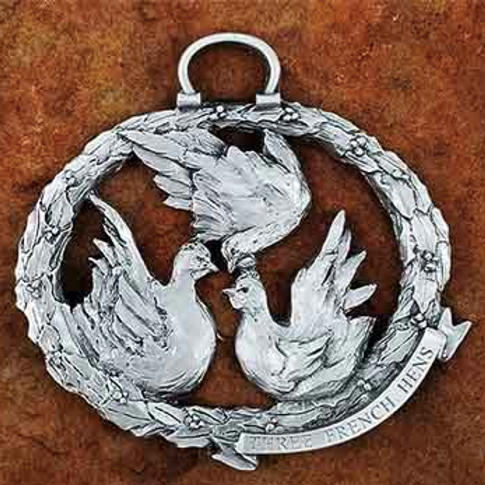 3 French Hens Pewter Christmas Ornament | Andy Schumann | SCH3FRENCHHENS