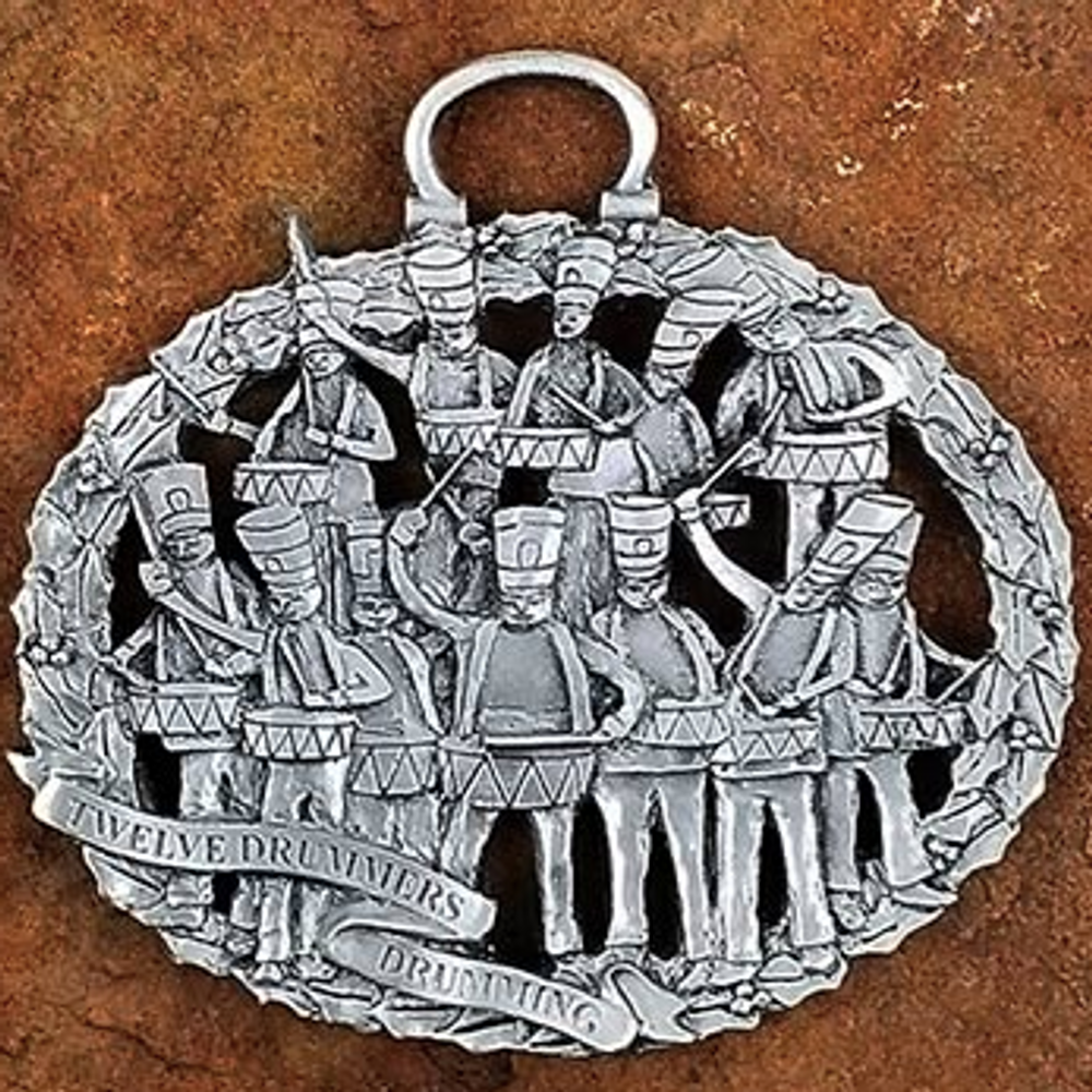 12 Drummers Drumming Pewter Christmas Ornament | Andy Schumann | SCH12DRUMMERS