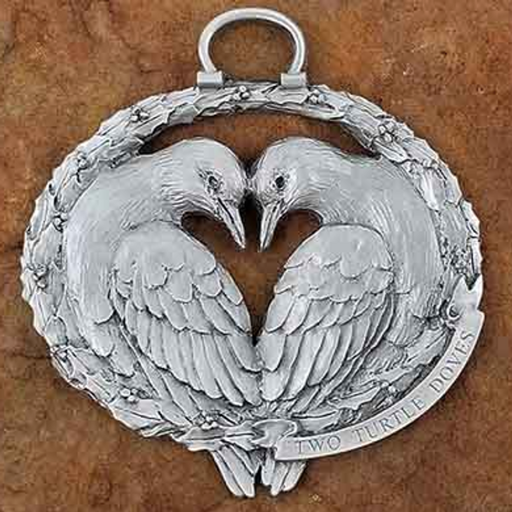 2 Turtle Doves Pewter Christmas Ornament | Andy Schumann | SCH2TURTLEDOVES