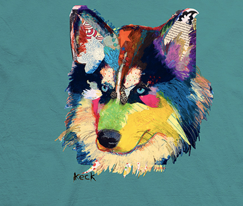 Colorful Siberian Husky Unisex Cotton T-Shirt | The Mountain | 106475 | Siberian Husky T-Shirt
