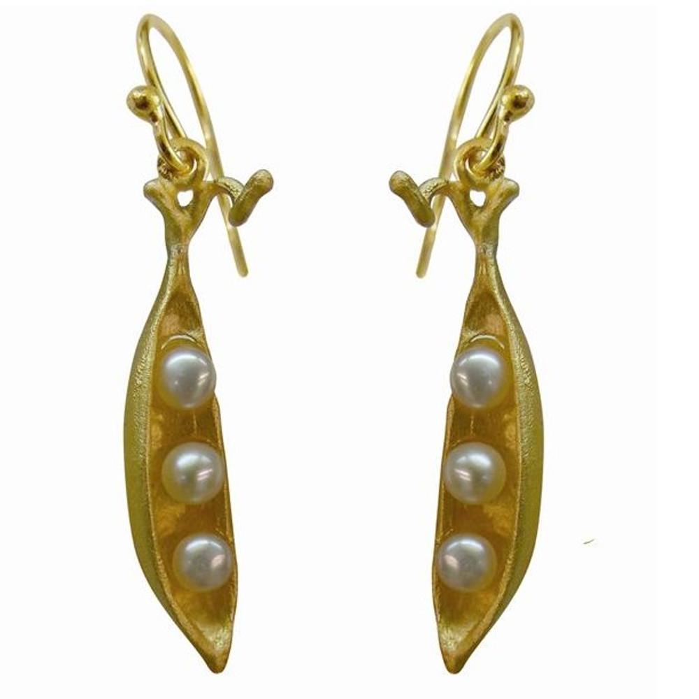 Peapod 3 Pearl Gold Plated Earrings | Michael Michaud Jewelry | SS4707BZG