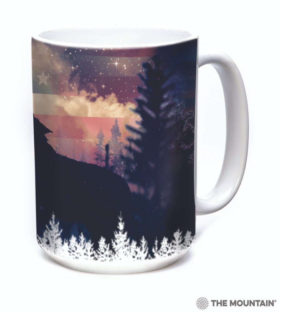 Patriotic Howl Wolf 15oz Ceramic Mug | The Mountain | 575971 | Wolf Mug
