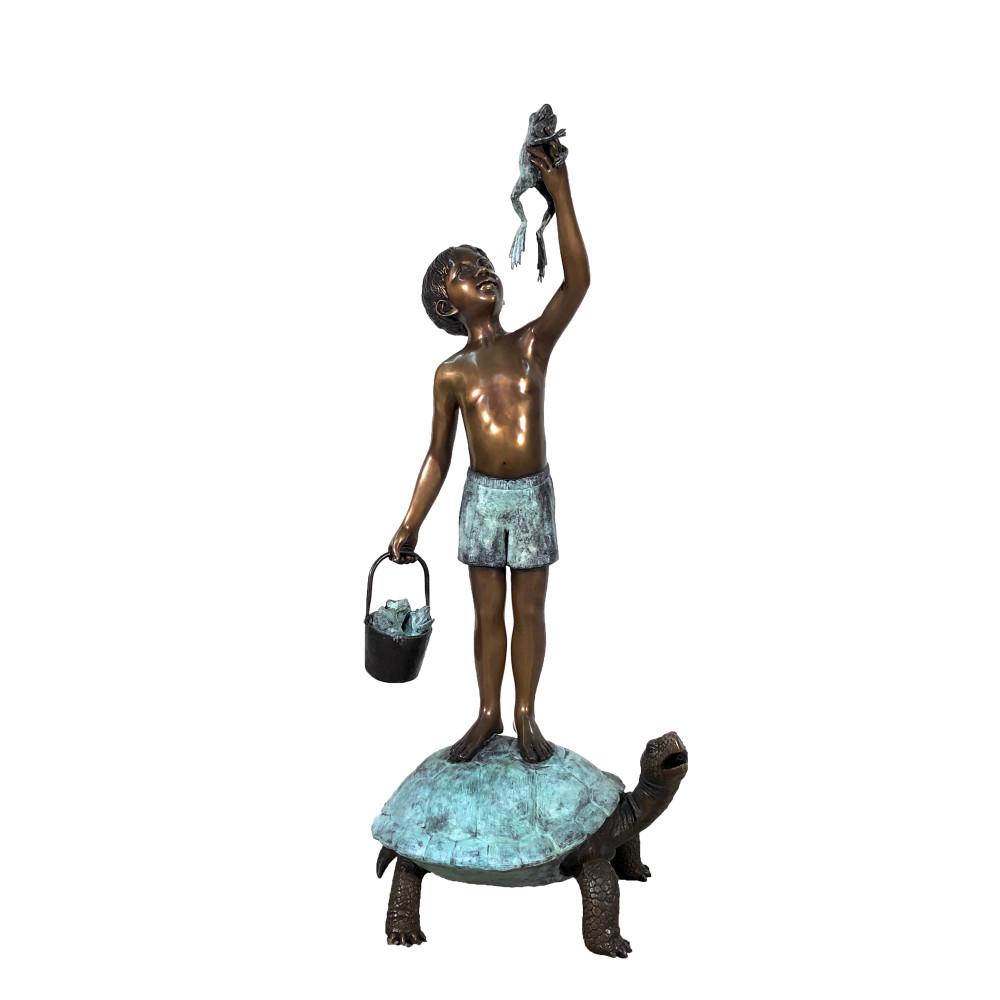 Boy on Turtle with Frog Bronze Fountain Statue   Metropolitan Galleries   SRB706545