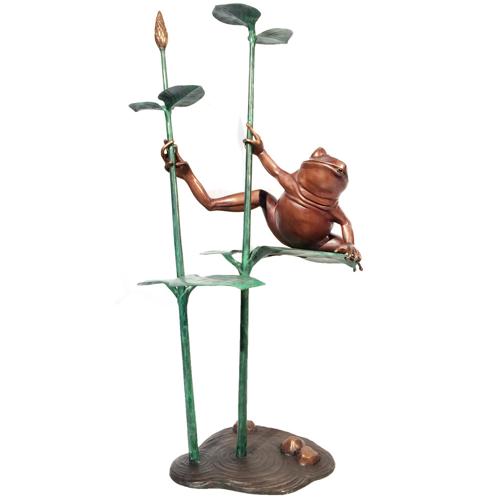 Frog on Leaf Bronze Fountain Statue | Metropolitan Galleries | SRB41050