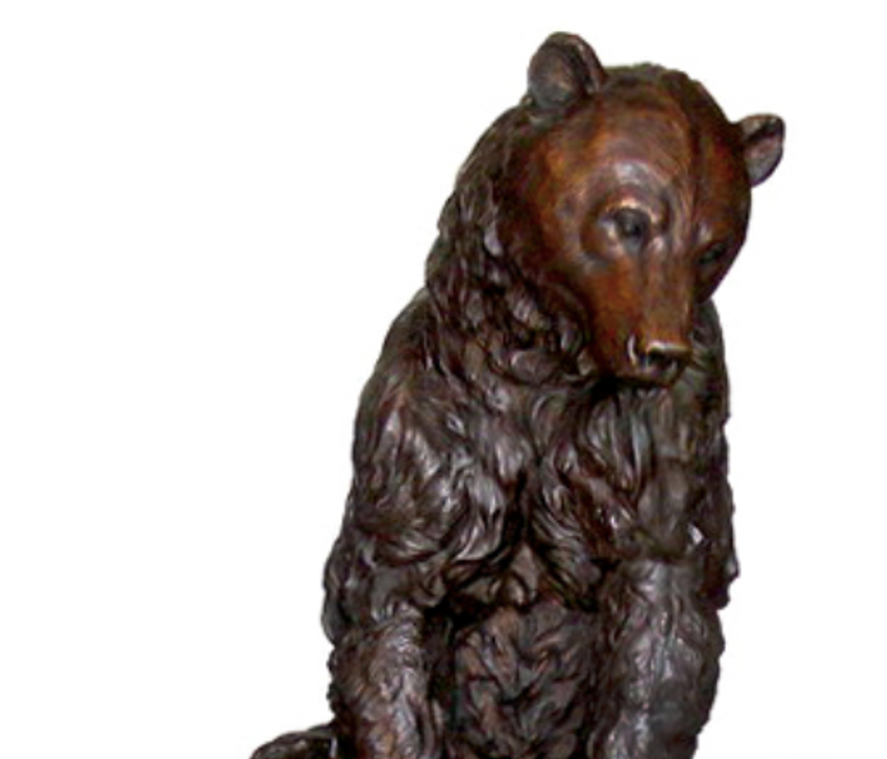Bear Sitting on Rock Bronze Statue | Metropolitan Galleries | SRB706427